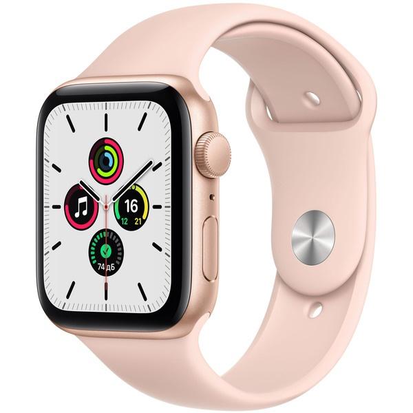 Смарт-часы Apple Watch SE 44 мм золотой, спортивный ремешок золотого цвета