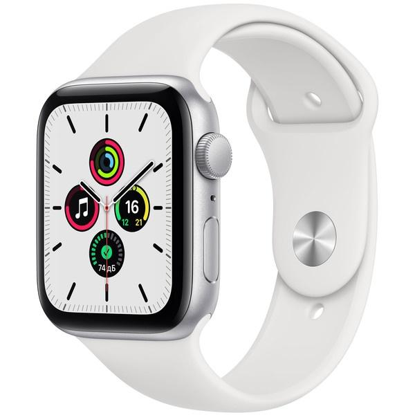 Смарт-часы Apple Watch SE 44 мм серебристый, спортивный ремешок серебристого цвета