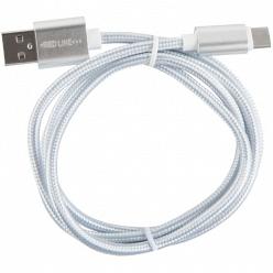 Кабель Red Line USB-USB Type-C 2.0, 1 м, серебристый