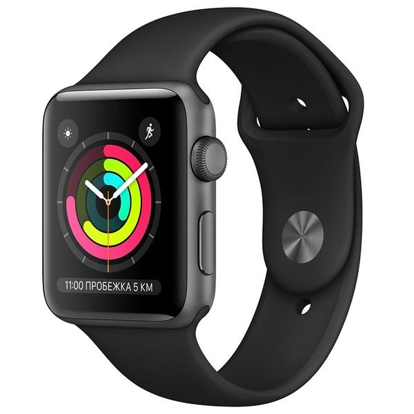 Смарт-часы Apple Watch Series 3 42 мм серый космос, спортивный ремешок фото
