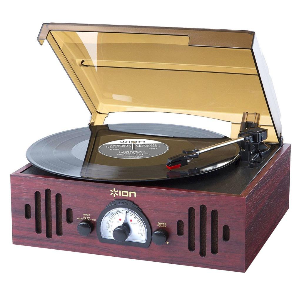Проигрыватель виниловых пластинок ION Audio Trio LP коричневого цвета