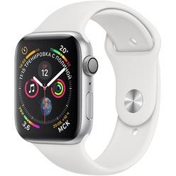Умные часы Apple Watch Series 4  44 мм серебристый, спортивный ремешок