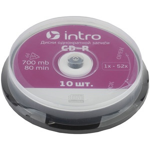 INTRO CD-R 700Mb, 52x Cakebox 10