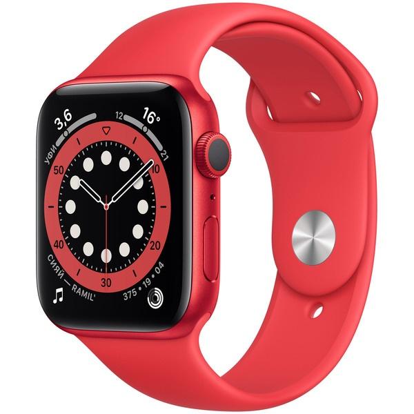 Смарт-часы Apple Watch Series 6 44 мм красный, спортивный ремешок красного цвета