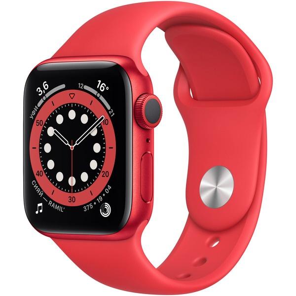 Смарт-часы Apple Watch Series 6 40 мм красный, спортивный ремешок красного цвета