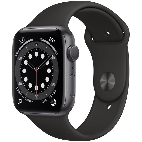 Смарт-часы Apple Watch Series 6 44 мм серый космос, спортивный ремешок  - купить со скидкой