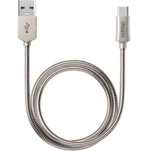 Deppa USB - USB Type-C, 1.2 м, стальной (72274)