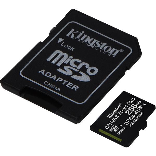 Карта памяти Kingston Canvas Select Plus 256GB, с адаптером