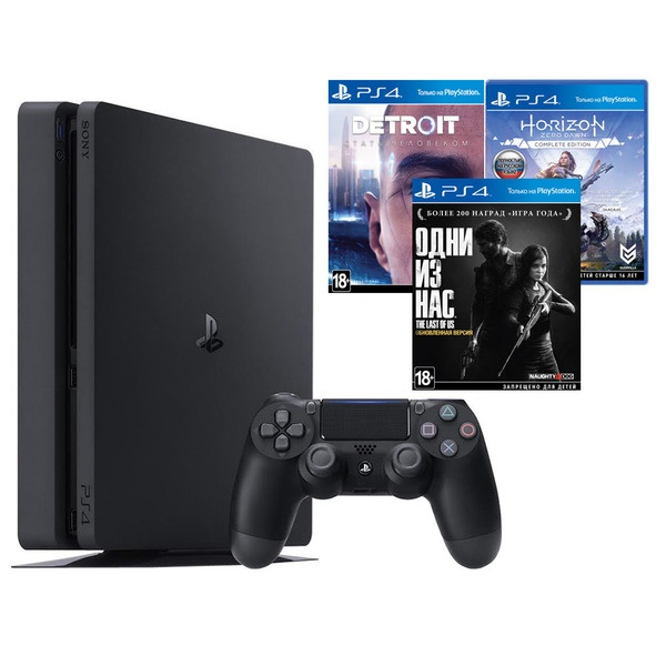 Игровая приставка Sony PlayStation 4 1000 Gb + Detroit, Одни из нас, Horizon: Zero Dawn (CUH-2208B)
