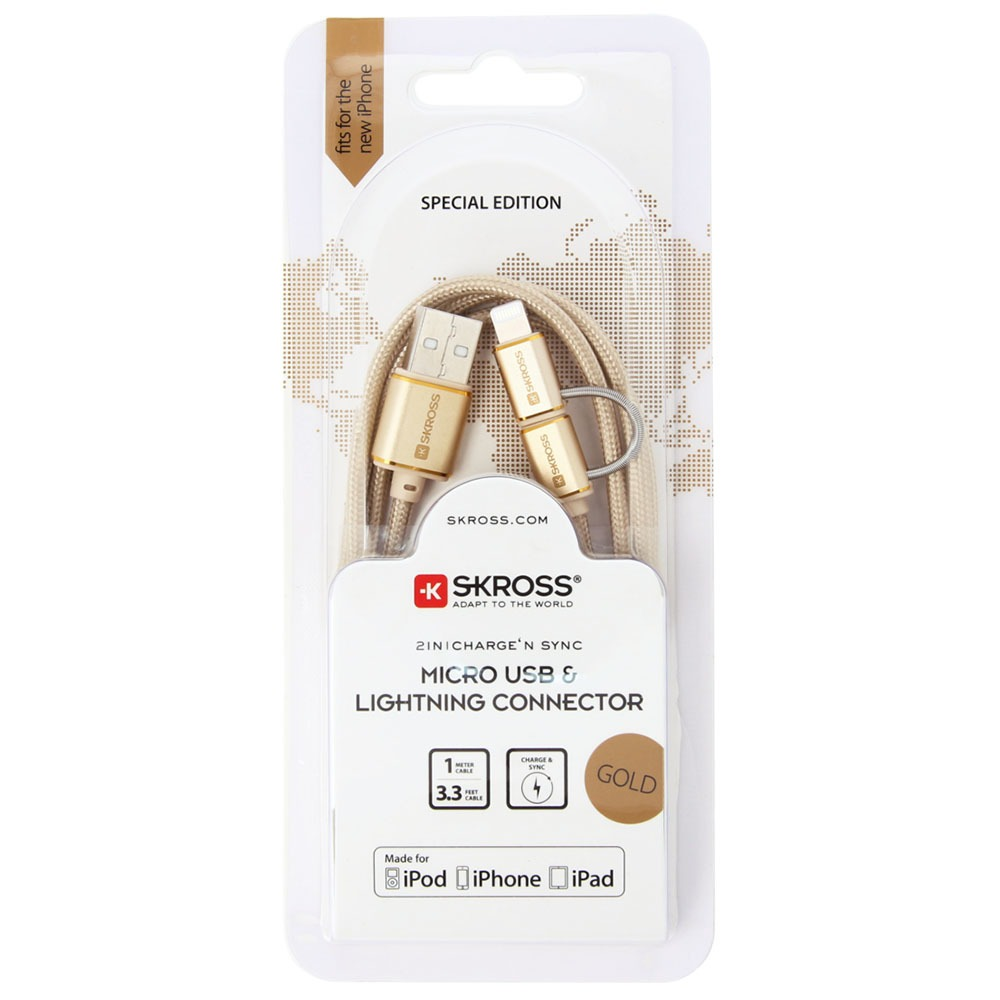 Кабель Skross Chargen Sync Micro USB &Lightning Connector, Gold - фото 3