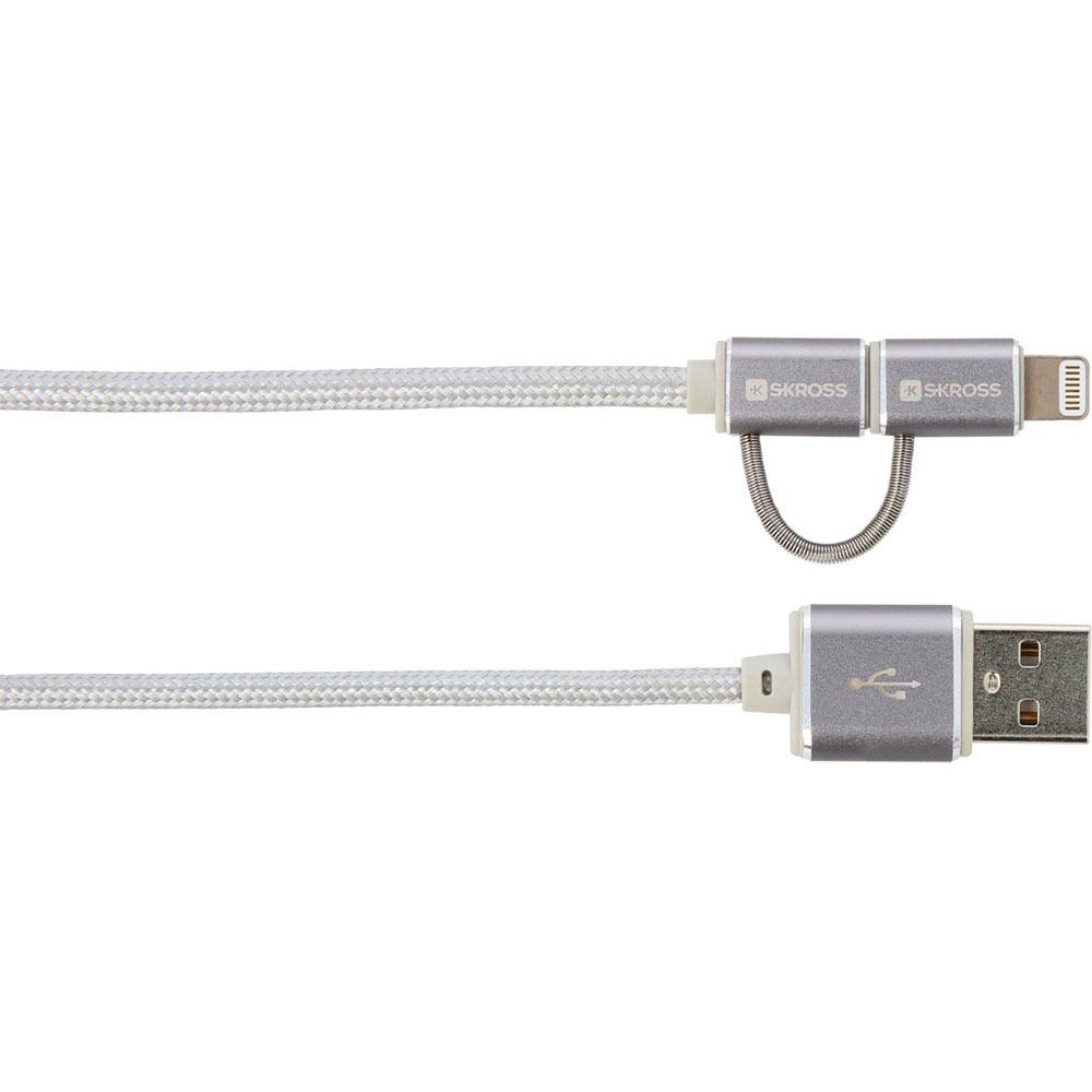 Кабель Skross Chargen Sync Micro USB &Lightning Connector, Silver - фото 2