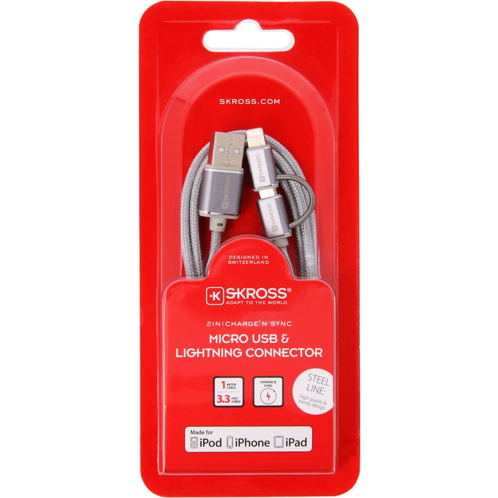 Кабель Skross Chargen Sync Micro USB &Lightning Connector, Silver - фото 3