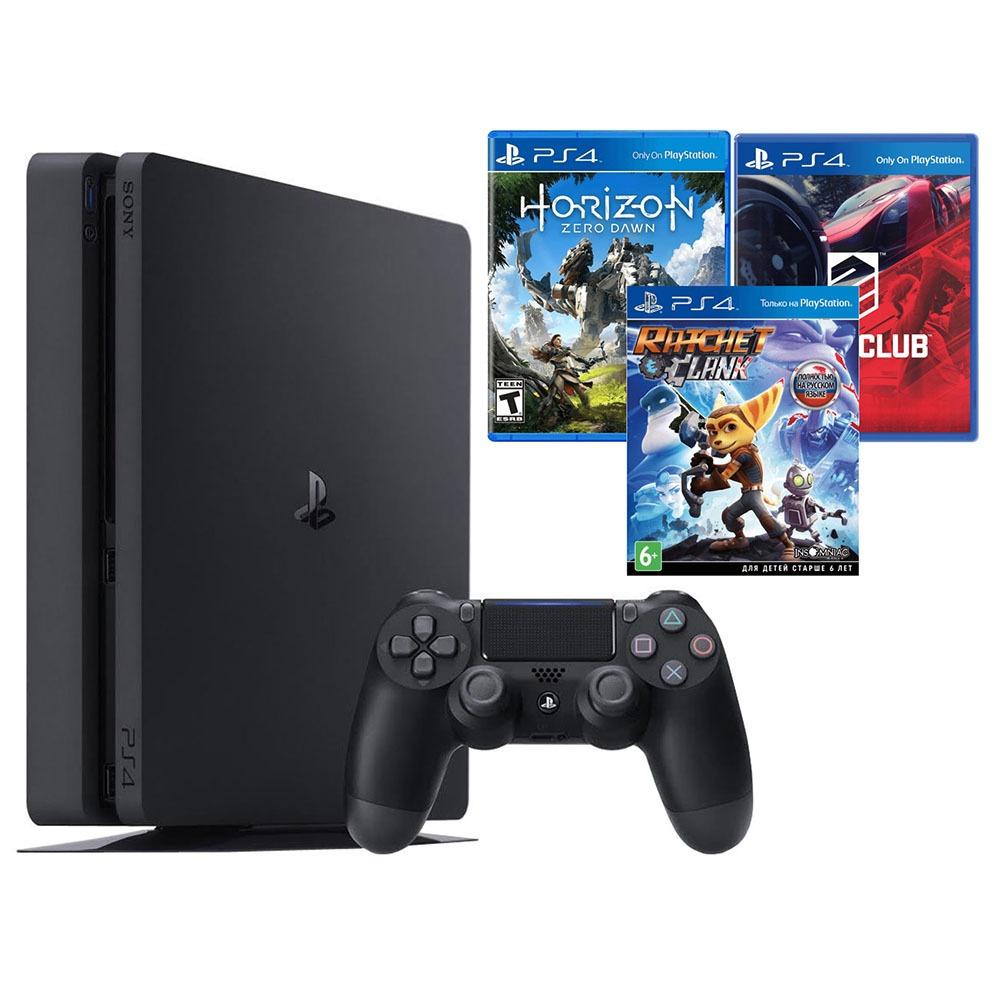 Игровая приставка Sony PlayStation 4 500 Gb + Horizon Zero Dawn, Drive Club, Ratchet & Clank (CUH-2008A) - фото 1