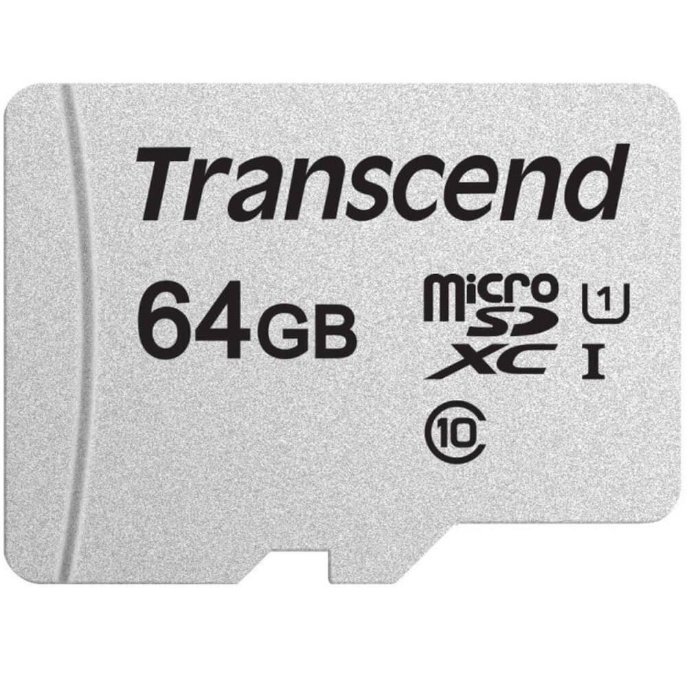 Карта памяти Transcend MicroSD 64GB UHS-I U1 (TS64GUSD300S-A) - фото 1