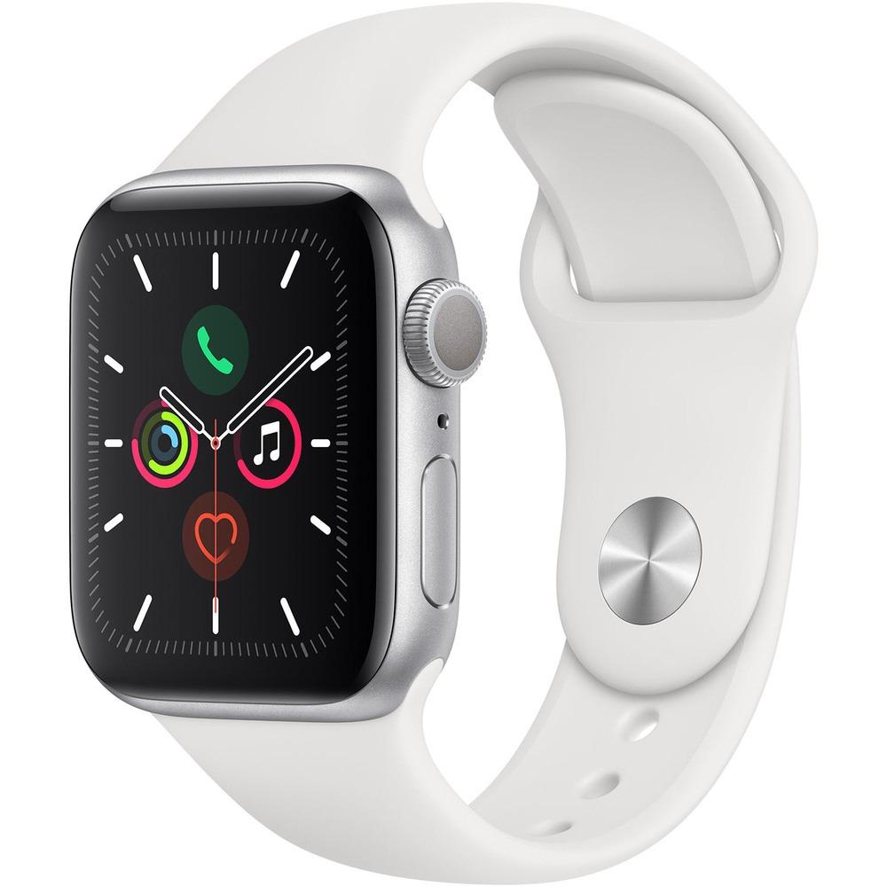 Смарт-часы Apple Watch Series 5 40 мм серебристый, спортивный ремешок - фото 1