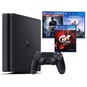 Игровая приставка Sony PlayStation 4 500 Gb + GT Sport, Uncharted 4, Horizon Zero Dawn (CUH-2108A)