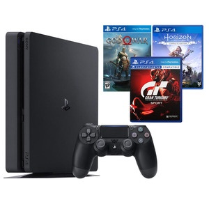 Игровая приставка Sony PlayStation 4 1000 Gb + God of War, GT Sport, Horizon: Zero Dawn (CUH-2208B)