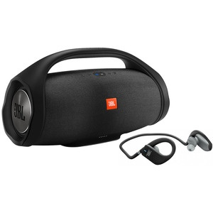Портативная акустика JBL Boombox Black, наушники JBL Endurance SPRINT