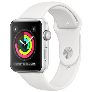 Смарт-часы Apple Watch Series 3 38 мм серебристый, спортивный ремешок