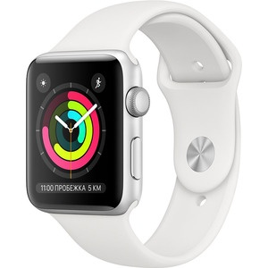 Смарт-часы Apple Watch Series 3 42 мм серебристый, спортивный ремешок