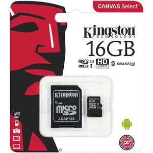 Карта памяти Kingston Canvas Select MicroSD 16GB Class 10