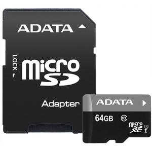 Карта памяти ADATA MicroSD 64GB Class 10 (AUSDX64GUICL10-RA1)