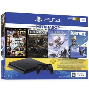 Игровая приставка Sony PlayStation 4 1000 Gb + Grand Theft Auto V, Жизнь После, Horizon Zero Dawn, PS Plus (CUH-2208B)