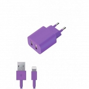 Аксессуар Apple Deppa СЗУ 2 USB 2.1А, дата-кабель 8-pin, фиолетовый (11371)