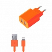 Аксессуар Apple Deppa СЗУ 2 USB 2.1А, дата-кабель 8-pin, оранжевый (11369)