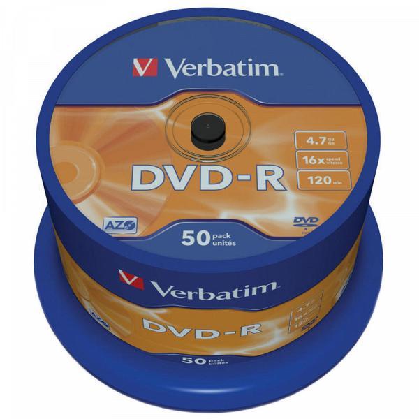купить Диск Verbatim DVD-R 4.7Gb, 16x Cake (50) 43548 - цена, описание, отзывы - фото 1