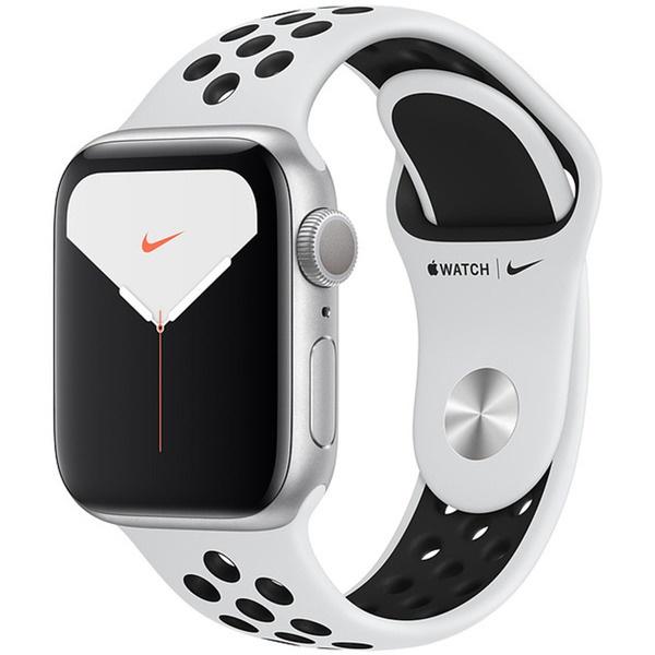 купить Смарт-часы Apple Watch Nike Series 5 40 мм серебристый, спортивный ремешок - цена, описание, отзывы - фото 1